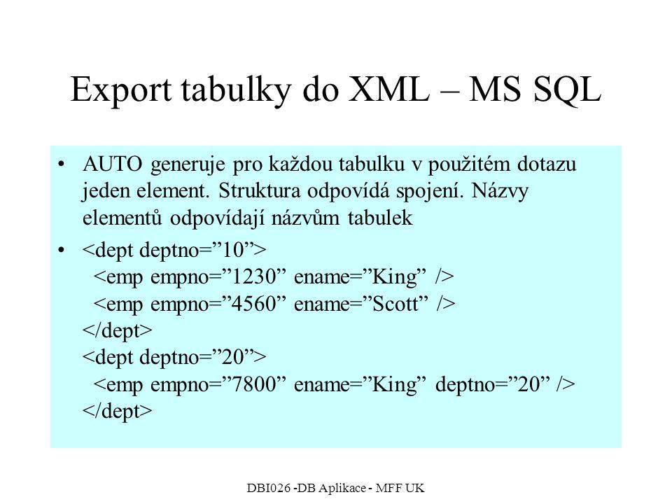 DBI026 -DB Aplikace - MFF UK Export tabulky do XML – MS SQL AUTO generuje pro každou tabulku v použitém dotazu jeden element. Struktura odpovídá spoje