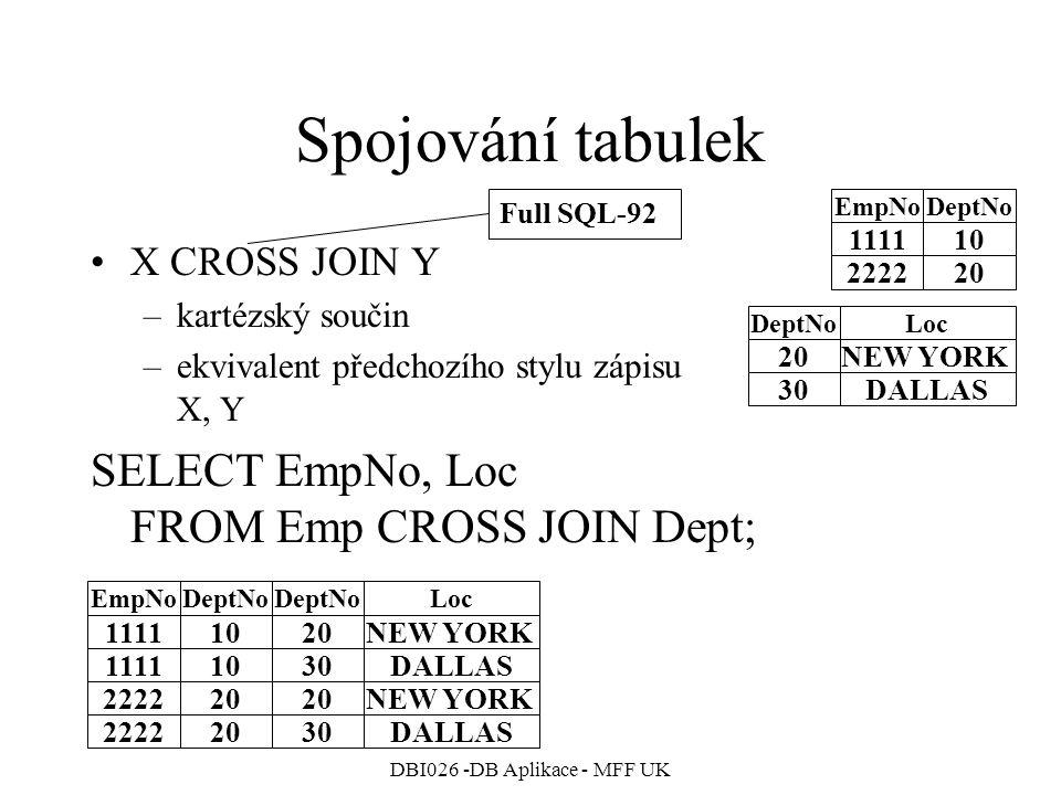 DBI026 -DB Aplikace - MFF UK Spojování tabulek X CROSS JOIN Y –kartézský součin –ekvivalent předchozího stylu zápisu X, Y SELECT EmpNo, Loc FROM Emp CROSS JOIN Dept; 111110 222220 EmpNoDeptNo 20NEW YORK 30DALLAS DeptNoLoc 111110 111110 EmpNoDeptNo 20NEW YORK 30DALLAS DeptNoLoc 222220 222220 NEW YORK 30DALLAS Full SQL-92