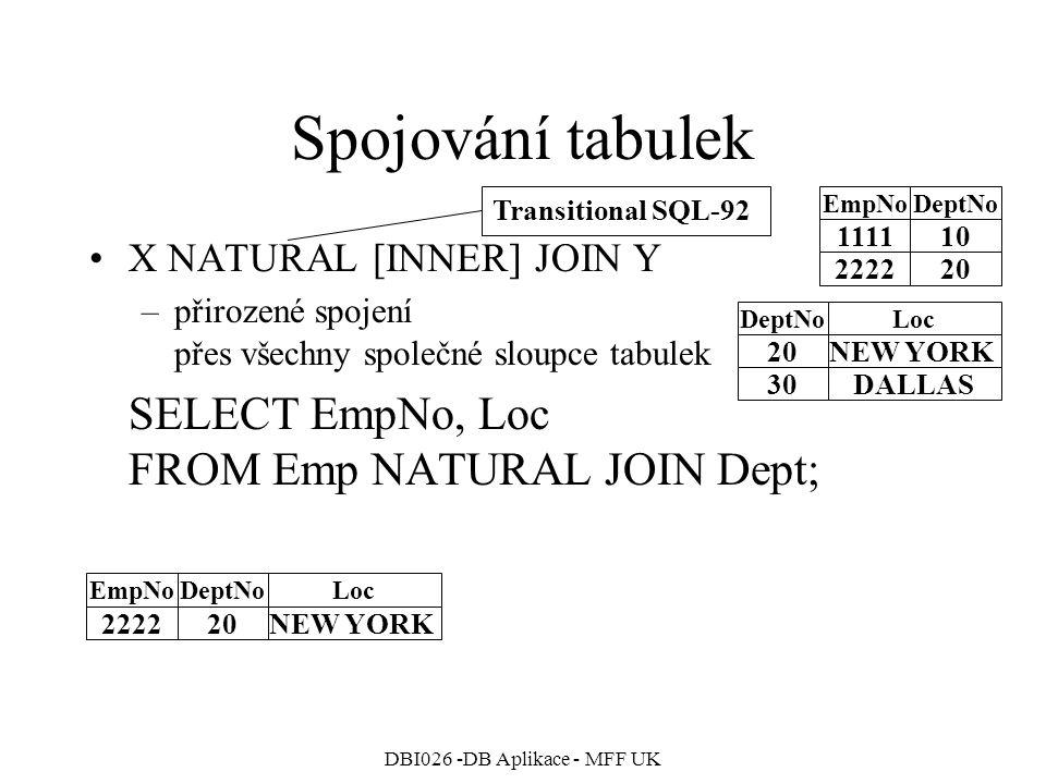 DBI026 -DB Aplikace - MFF UK Spojování tabulek X NATURAL [INNER] JOIN Y –přirozené spojení přes všechny společné sloupce tabulek SELECT EmpNo, Loc FROM Emp NATURAL JOIN Dept; 111110 222220 EmpNoDeptNo 20NEW YORK 30DALLAS DeptNoLocEmpNoDeptNoLoc 222220NEW YORK Transitional SQL-92