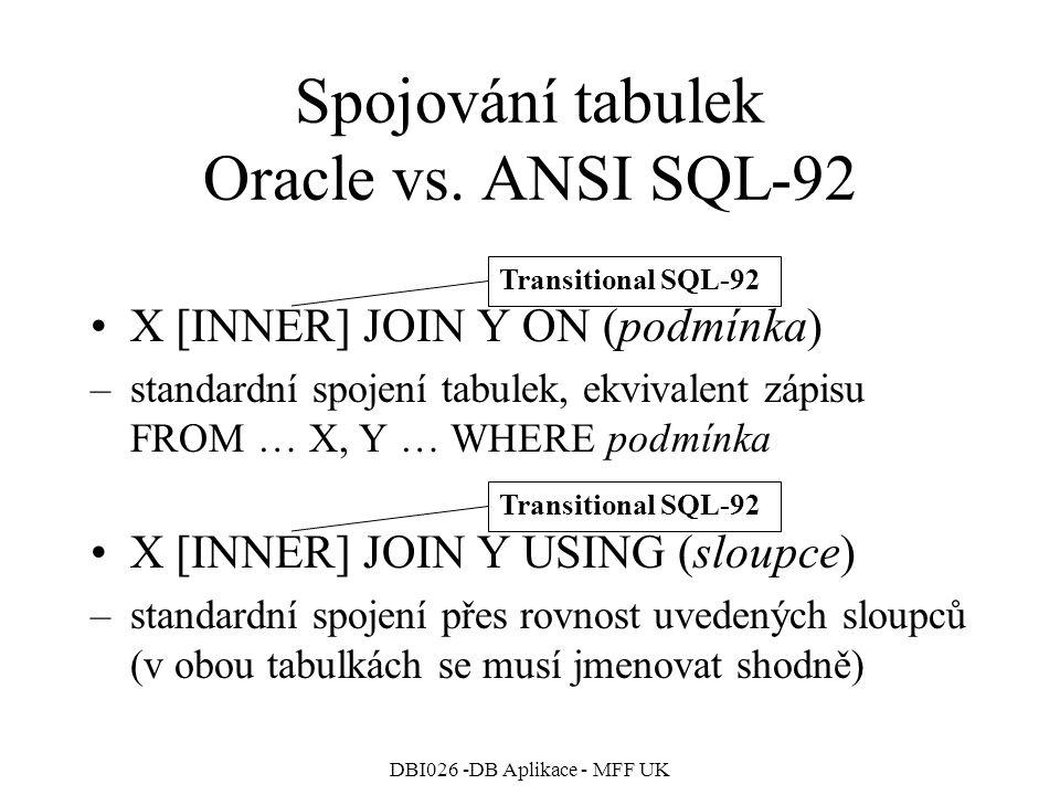 DBI026 -DB Aplikace - MFF UK Spojování tabulek Oracle vs. ANSI SQL-92 X [INNER] JOIN Y ON (podmínka) –standardní spojení tabulek, ekvivalent zápisu FR