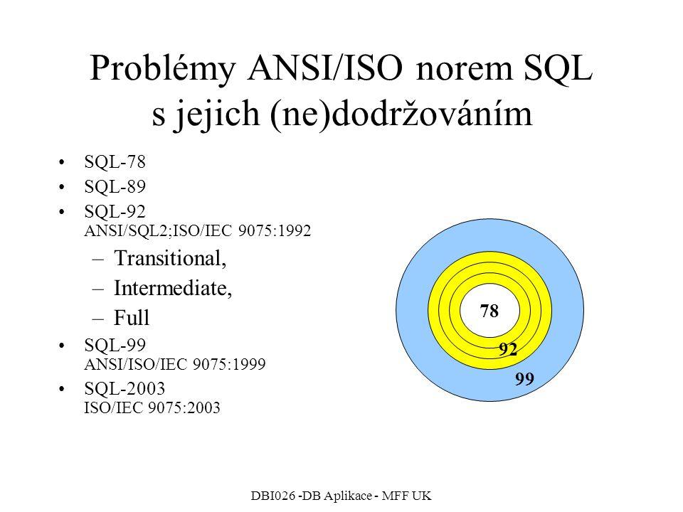 DBI026 -DB Aplikace - MFF UK Problémy ANSI/ISO norem SQL s jejich (ne)dodržováním SQL-78 SQL-89 SQL-92 ANSI/SQL2;ISO/IEC 9075:1992 –Transitional, –Intermediate, –Full SQL-99 ANSI/ISO/IEC 9075:1999 SQL-2003 ISO/IEC 9075:2003 78 99 92
