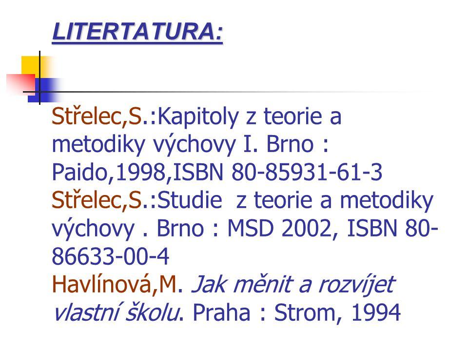 LITERTATURA: LITERTATURA: Střelec,S.:Kapitoly z teorie a metodiky výchovy I.