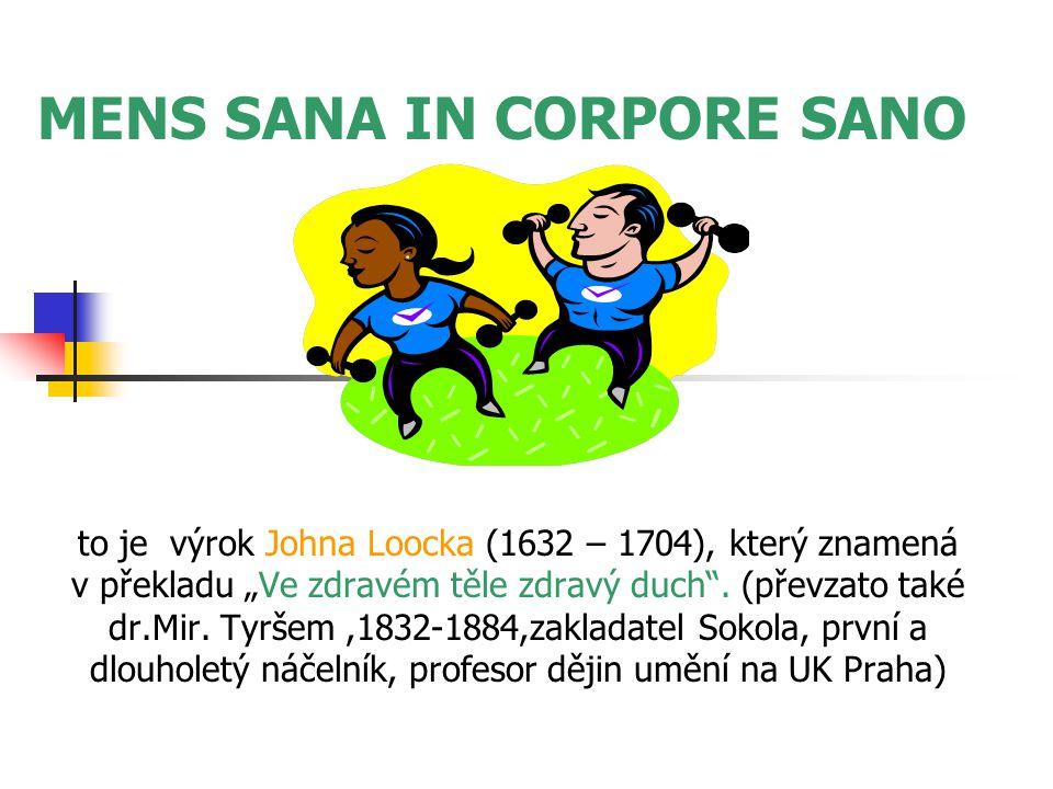 """MENS SANA IN CORPORE SANO to je výrok Johna Loocka (1632 – 1704), který znamená v překladu """"Ve zdravém těle zdravý duch ."""