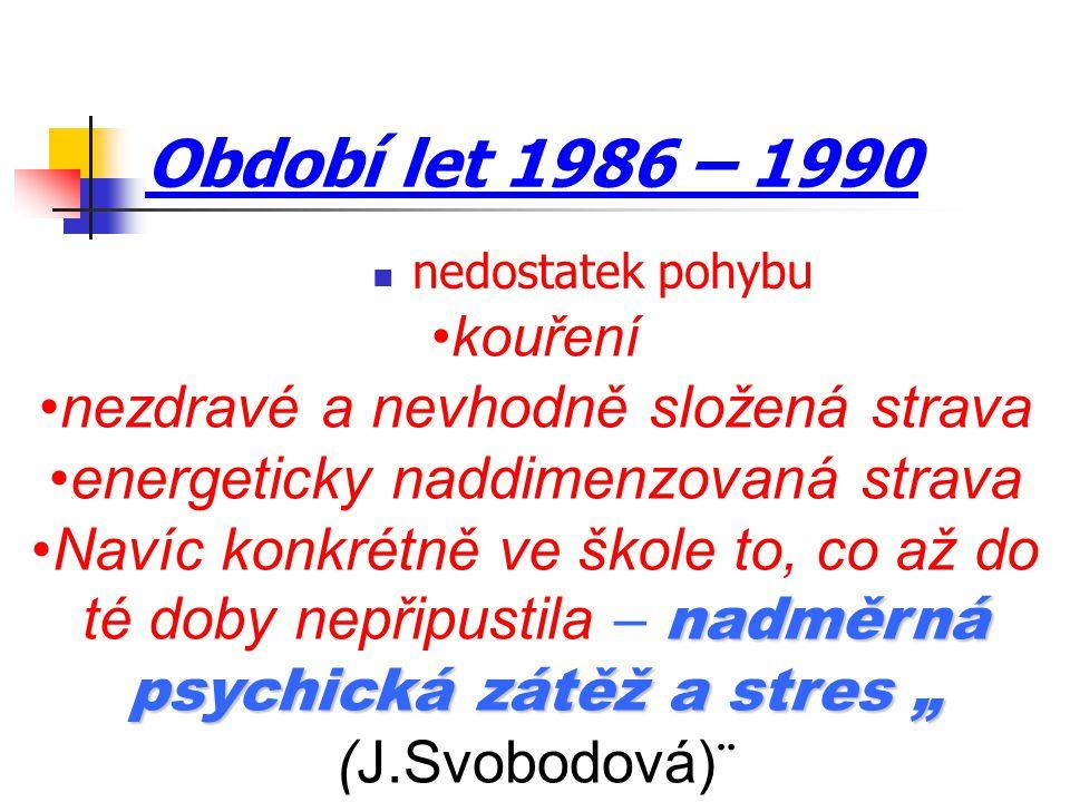 """Období let 1986 – 1990 nedostatek pohybu kouření nezdravé a nevhodně složená strava energeticky naddimenzovaná strava nadměrná psychická zátěž a stres """"Navíc konkrétně ve škole to, co až do té doby nepřipustila – nadměrná psychická zátěž a stres """" (J.Svobodová)¨"""