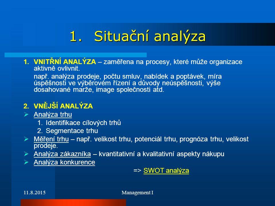 11.8.2015Management I 1.Situační analýza 1.VNITŘNÍ ANALÝZA – zaměřena na procesy, které může organizace aktivně ovlivnit. např. analýza prodeje, počtu
