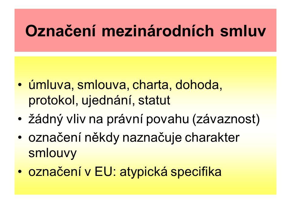 Označení mezinárodních smluv úmluva, smlouva, charta, dohoda, protokol, ujednání, statut žádný vliv na právní povahu (závaznost) označení někdy naznačuje charakter smlouvy označení v EU: atypická specifika