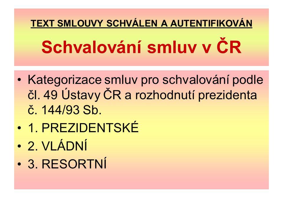 TEXT SMLOUVY SCHVÁLEN A AUTENTIFIKOVÁN Schvalování smluv v ČR Kategorizace smluv pro schvalování podle čl.