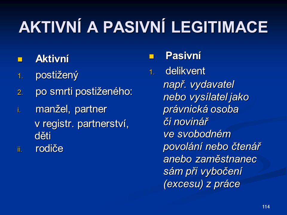 114 AKTIVNÍ A PASIVNÍ LEGITIMACE Aktivní Aktivní 1.