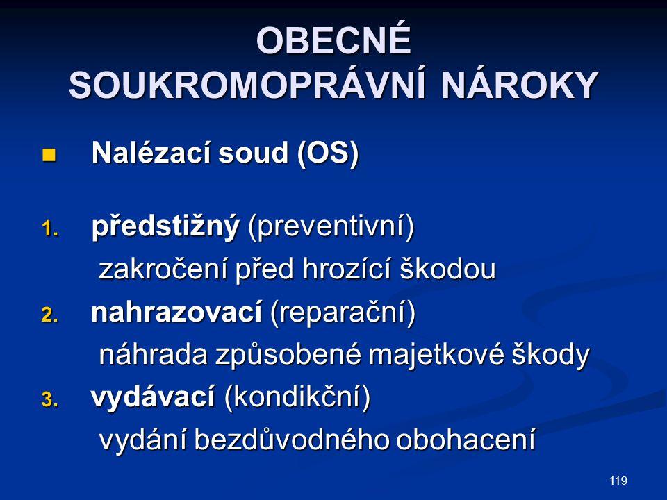 119 OBECNÉ SOUKROMOPRÁVNÍ NÁROKY Nalézací soud (OS) Nalézací soud (OS) 1.