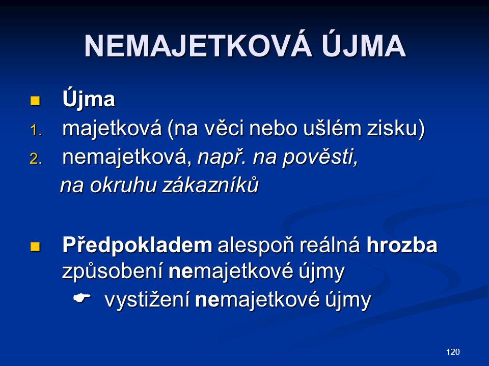120 NEMAJETKOVÁ ÚJMA Újma Újma 1. majetková (na věci nebo ušlém zisku) 2.