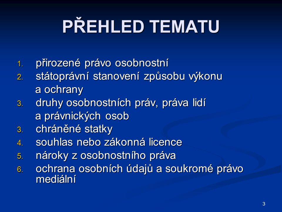 3 PŘEHLED TEMATU 1. přirozené právo osobnostní 2.
