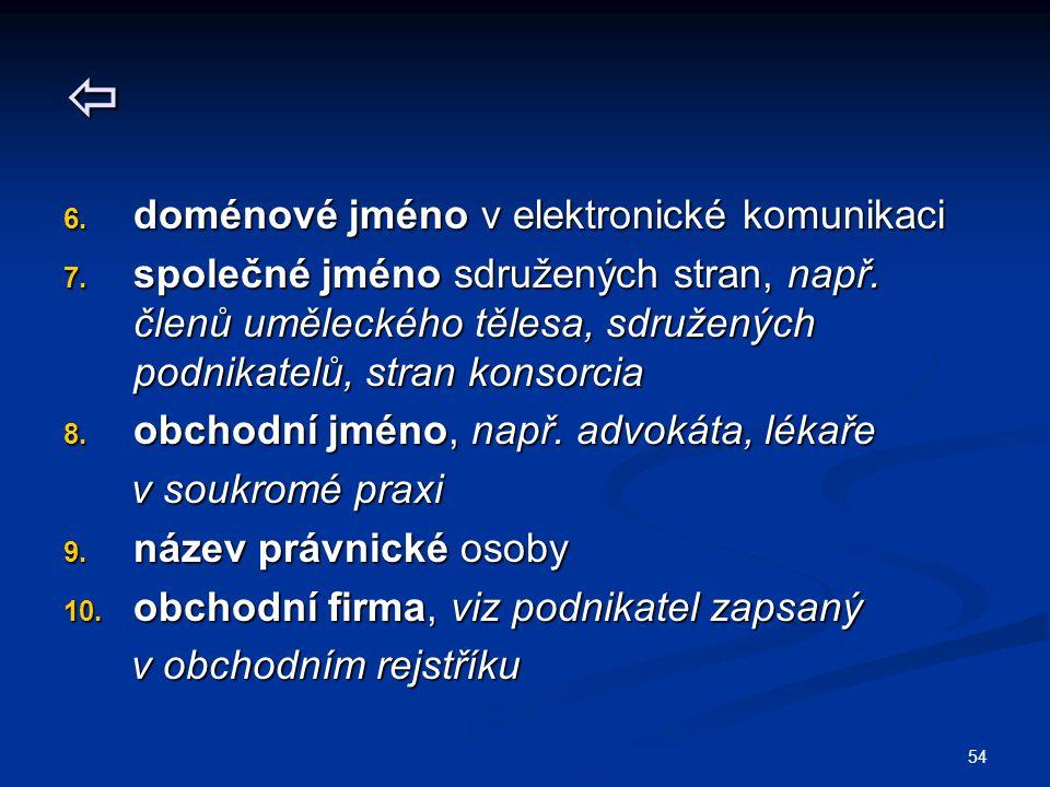 54  6. doménové jméno v elektronické komunikaci 7.