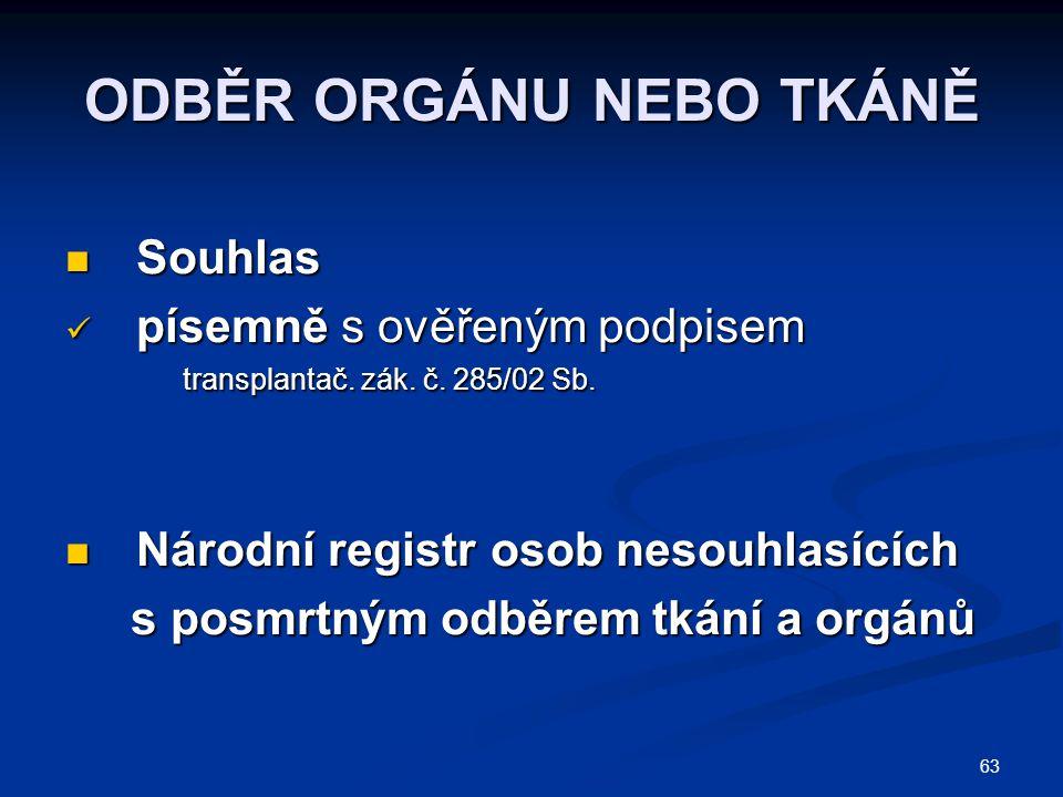 63 ODBĚR ORGÁNU NEBO TKÁNĚ Souhlas Souhlas písemně s ověřeným podpisem písemně s ověřeným podpisem transplantač.