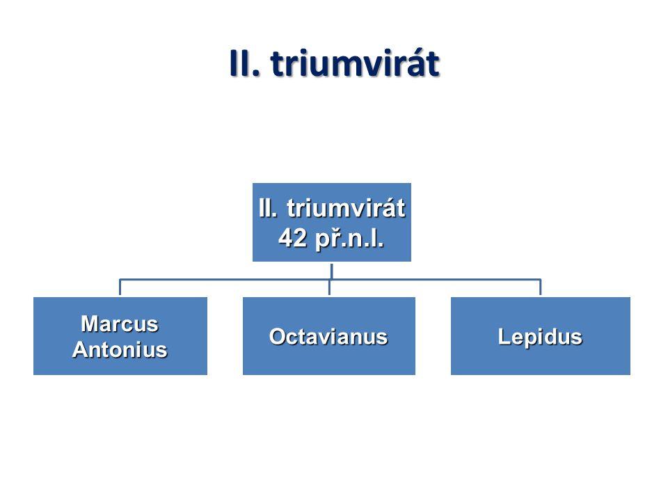 II. triumvirát 42 př.n.l. Marcus Antonius OctavianusLepidus