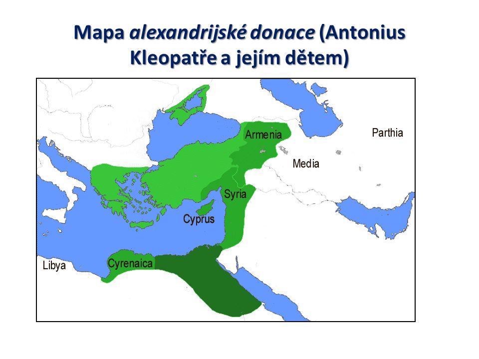 Mapa alexandrijské donace (Antonius Kleopatře a jejím dětem)