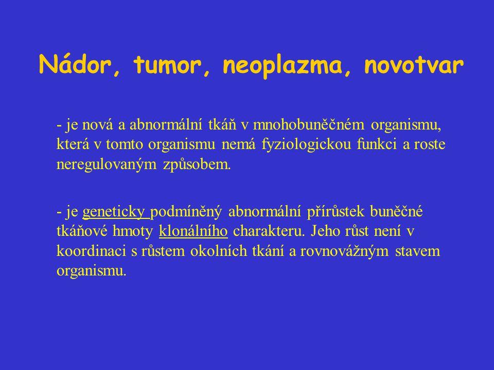 Nádor, tumor, neoplazma, novotvar - je nová a abnormální tkáň v mnohobuněčném organismu, která v tomto organismu nemá fyziologickou funkci a roste neregulovaným způsobem.