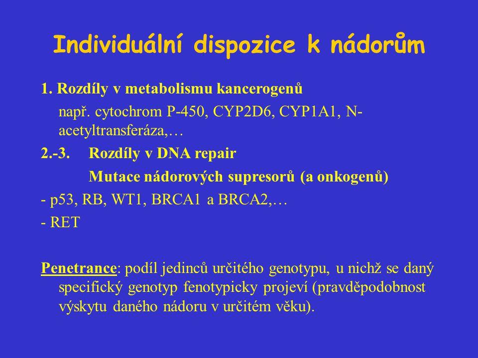 Individuální dispozice k nádorům 1. Rozdíly v metabolismu kancerogenů např. cytochrom P-450, CYP2D6, CYP1A1, N- acetyltransferáza,… 2.-3. Rozdíly v DN