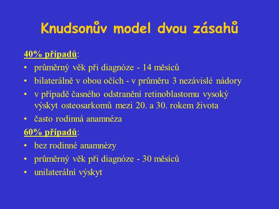Knudsonův model dvou zásahů 40% případů: průměrný věk při diagnóze - 14 měsíců bilaterálně v obou očích - v průměru 3 nezávislé nádory v případě časného odstranění retinoblastomu vysoký výskyt osteosarkomů mezi 20.
