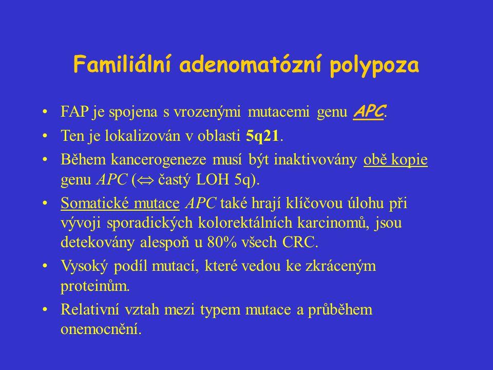 Familiální adenomatózní polypoza FAP je spojena s vrozenými mutacemi genu APC. Ten je lokalizován v oblasti 5q21. Během kancerogeneze musí být inaktiv