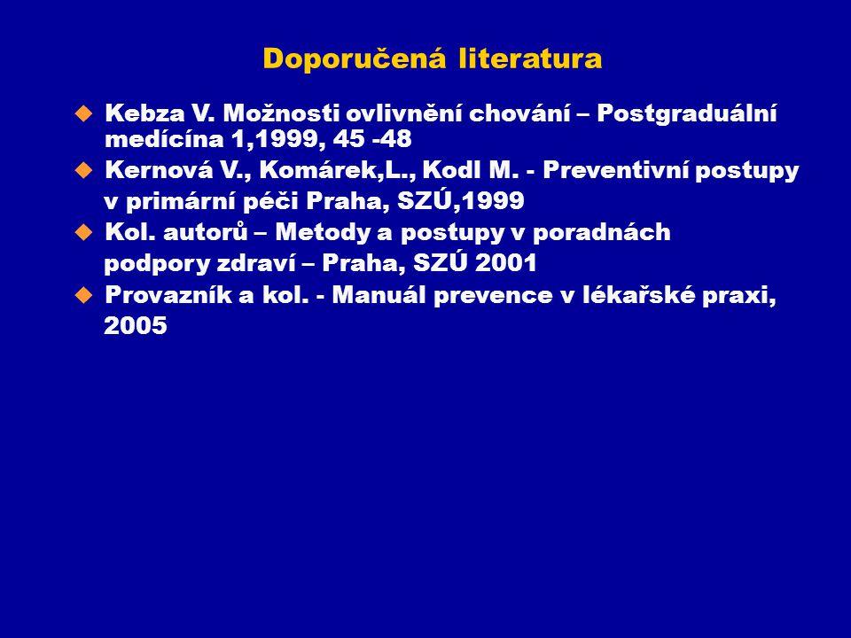 Doporučená literatura u Kebza V. Možnosti ovlivnění chování – Postgraduální medícína 1,1999, 45 -48 u Kernová V., Komárek,L., Kodl M. - Preventivní po