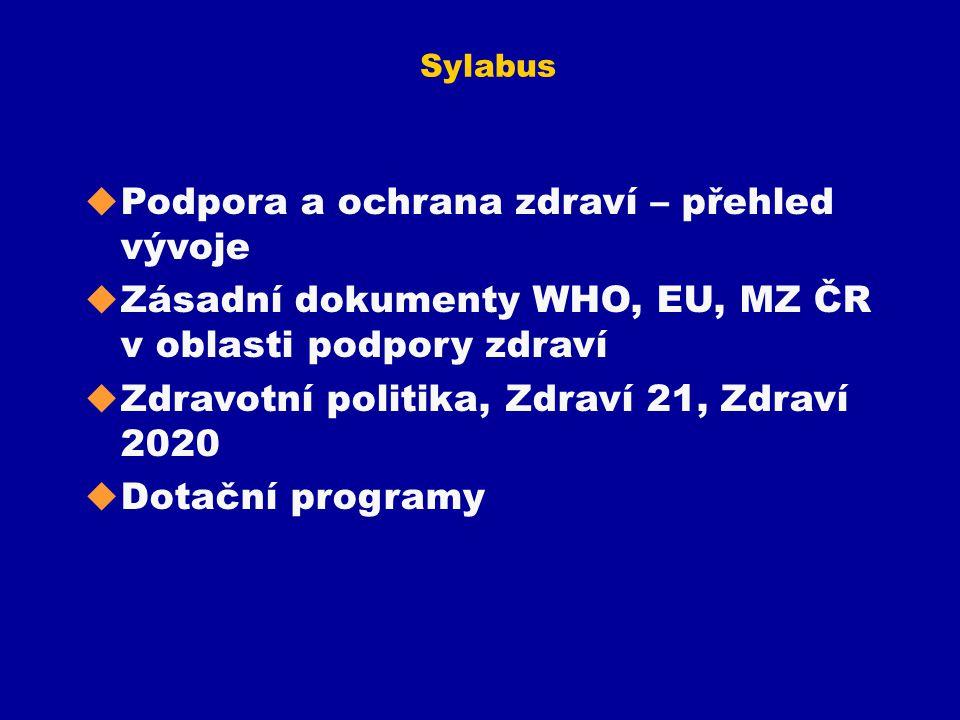 Sylabus u Podpora a ochrana zdraví – přehled vývoje u Zásadní dokumenty WHO, EU, MZ ČR v oblasti podpory zdraví u Zdravotní politika, Zdraví 21, Zdrav