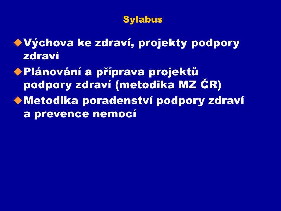Sylabus u Výchova ke zdraví, projekty podpory zdraví u Plánování a příprava projektů podpory zdraví (metodika MZ ČR) u Metodika poradenství podpory zd