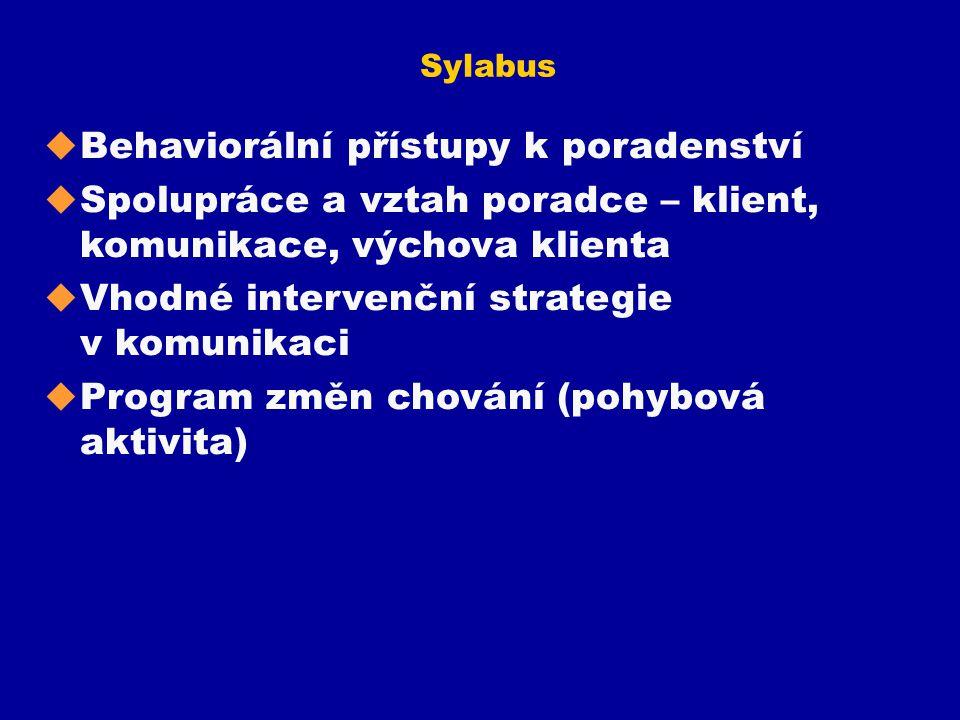 Sylabus u Behaviorální přístupy k poradenství u Spolupráce a vztah poradce – klient, komunikace, výchova klienta u Vhodné intervenční strategie v komu