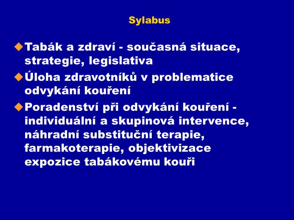 Sylabus u Tabák a zdraví - současná situace, strategie, legislativa u Úloha zdravotníků v problematice odvykání kouření u Poradenství při odvykání kou