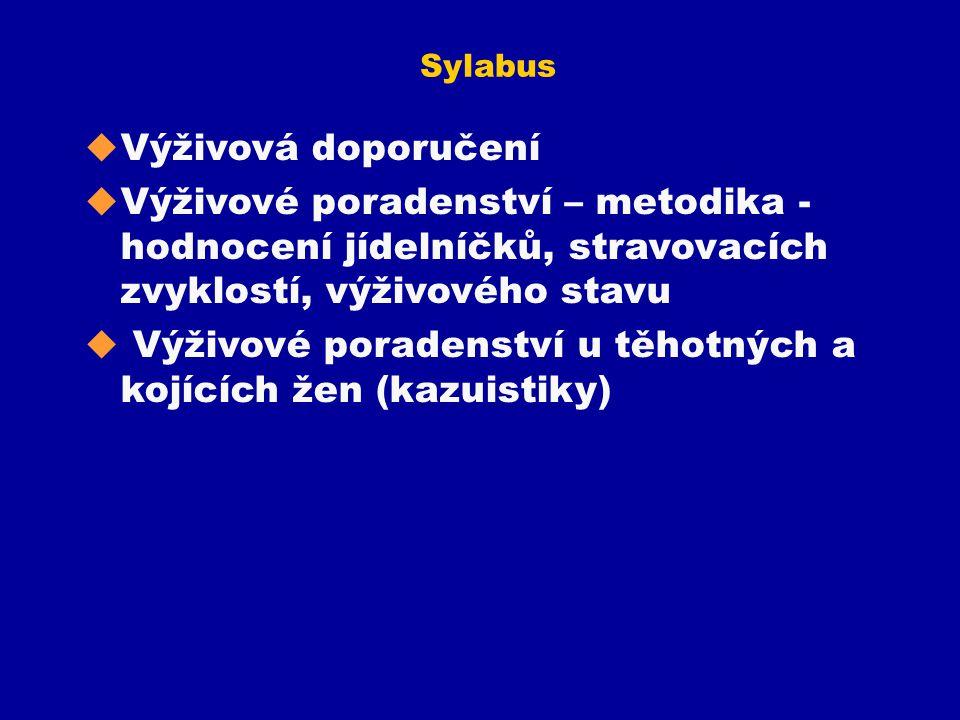 Sylabus u Výživová doporučení u Výživové poradenství – metodika - hodnocení jídelníčků, stravovacích zvyklostí, výživového stavu u Výživové poradenstv