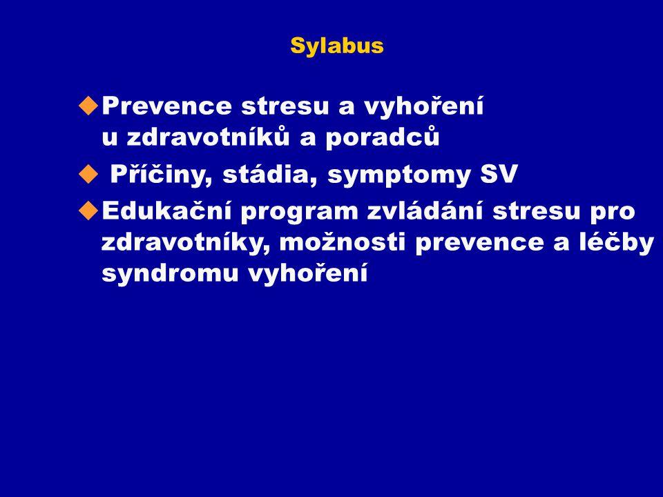 Sylabus u Prevence stresu a vyhoření u zdravotníků a poradců u Příčiny, stádia, symptomy SV u Edukační program zvládání stresu pro zdravotníky, možnos