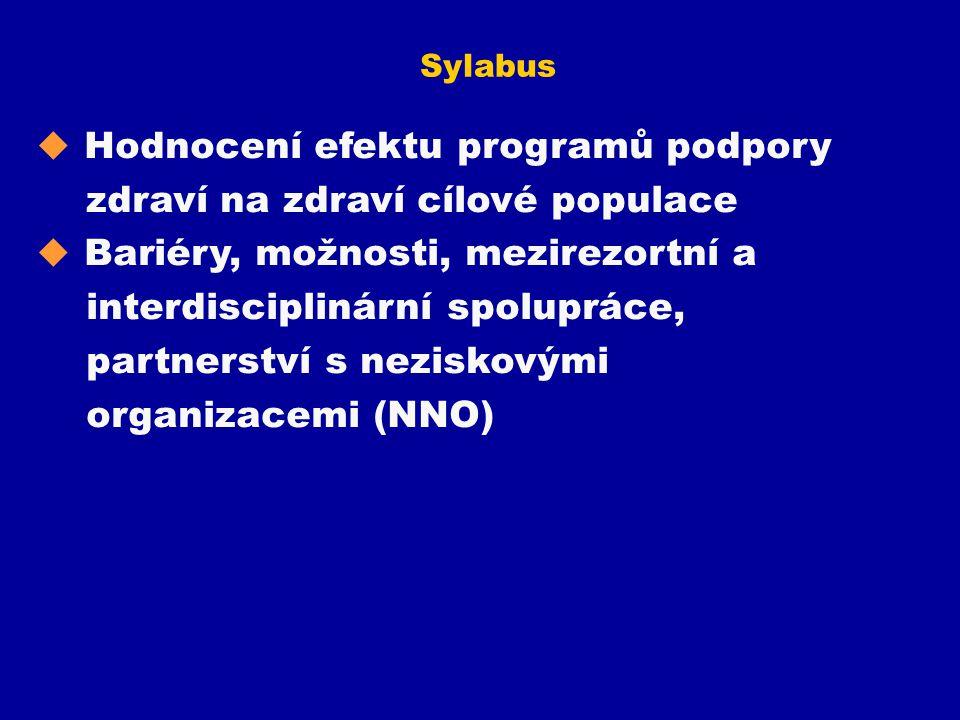 Sylabus u Hodnocení efektu programů podpory zdraví na zdraví cílové populace u Bariéry, možnosti, mezirezortní a interdisciplinární spolupráce, partne