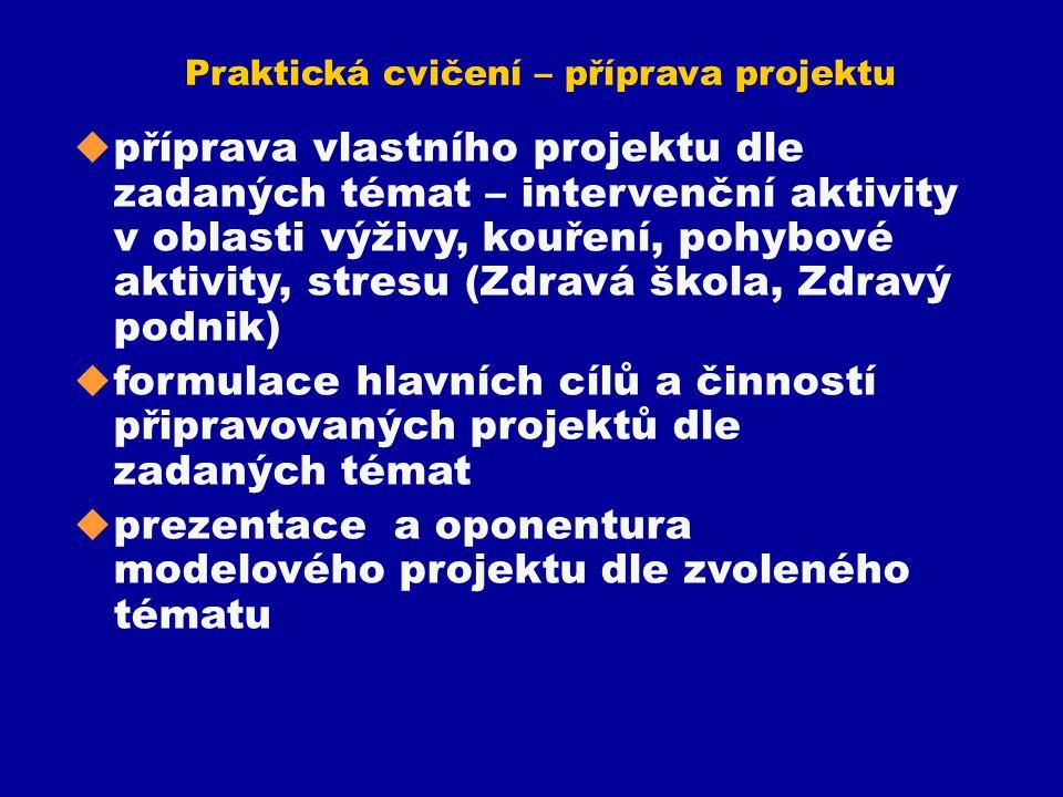 Praktická cvičení – příprava projektu u příprava vlastního projektu dle zadaných témat – intervenční aktivity v oblasti výživy, kouření, pohybové akti