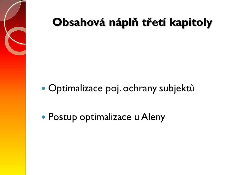 Obsahová náplň třetí kapitoly Optimalizace poj. ochrany subjektů Postup optimalizace u Aleny