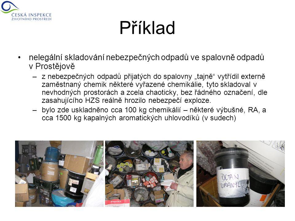 """Příklad nelegální skladování nebezpečných odpadů ve spalovně odpadů v Prostějově –z nebezpečných odpadů přijatých do spalovny """"tajně vytřídil externě zaměstnaný chemik některé vyřazené chemikálie, tyto skladoval v nevhodných prostorách a zcela chaoticky, bez řádného označení, dle zasahujícího HZS reálně hrozilo nebezpečí exploze."""