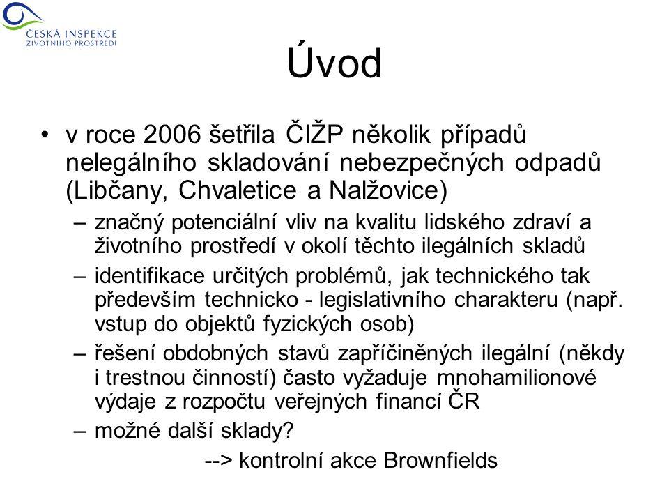 Úvod v roce 2006 šetřila ČIŽP několik případů nelegálního skladování nebezpečných odpadů (Libčany, Chvaletice a Nalžovice) –značný potenciální vliv na kvalitu lidského zdraví a životního prostředí v okolí těchto ilegálních skladů –identifikace určitých problémů, jak technického tak především technicko - legislativního charakteru (např.