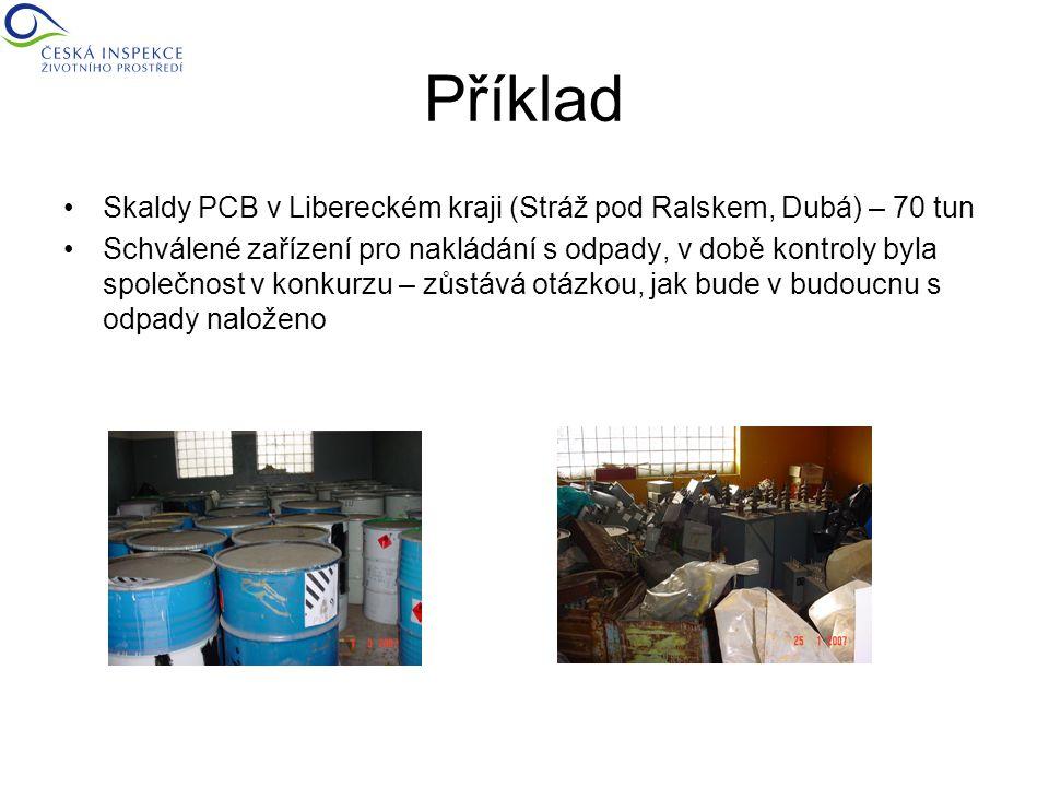 Příklad Skaldy PCB v Libereckém kraji (Stráž pod Ralskem, Dubá) – 70 tun Schválené zařízení pro nakládání s odpady, v době kontroly byla společnost v konkurzu – zůstává otázkou, jak bude v budoucnu s odpady naloženo