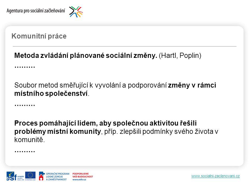 www.socialni-zaclenovani.cz Metoda zvládání plánované sociální změny. (Hartl, Poplin) ……… Soubor metod směřující k vyvolání a podporování změny v rámc