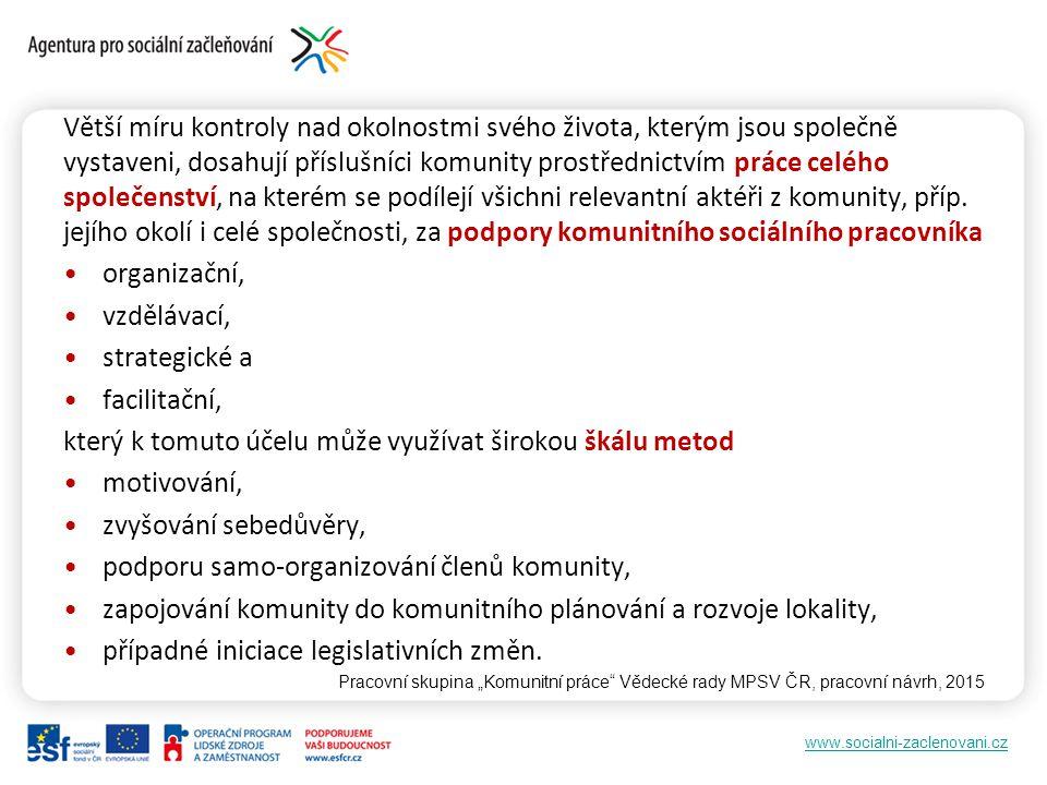 www.socialni-zaclenovani.cz Větší míru kontroly nad okolnostmi svého života, kterým jsou společně vystaveni, dosahují příslušníci komunity prostřednic