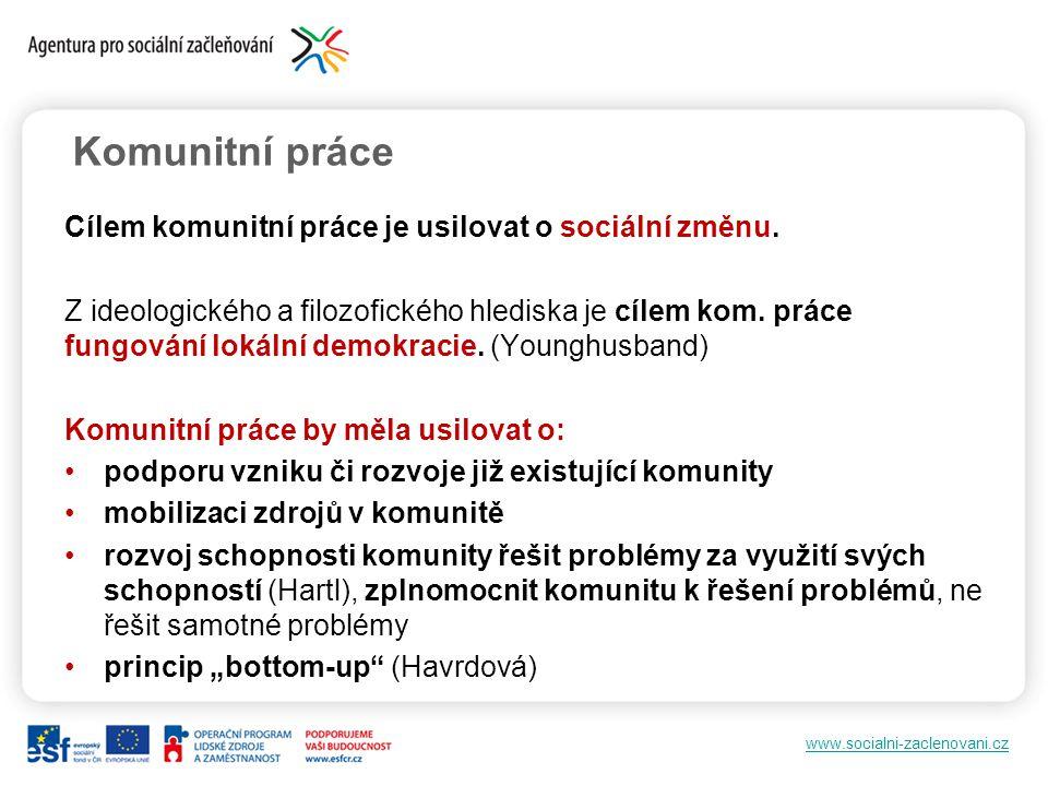 www.socialni-zaclenovani.cz Komunitní práce Cílem komunitní práce je usilovat o sociální změnu. Z ideologického a filozofického hlediska je cílem kom.