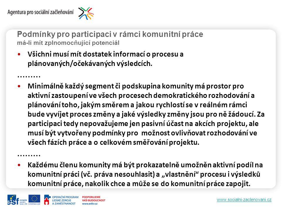 www.socialni-zaclenovani.cz Podmínky pro participaci v rámci komunitní práce má-li mít zplnomocňující potenciál Všichni musí mít dostatek informací o