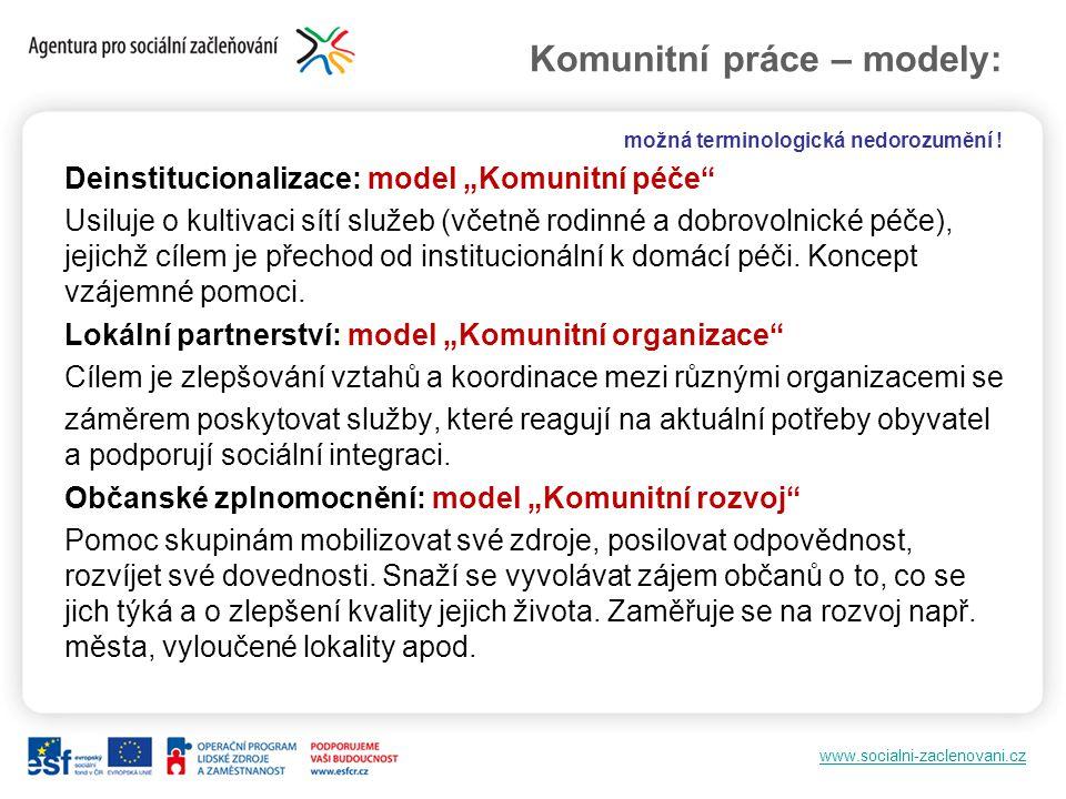 """www.socialni-zaclenovani.cz Komunitní práce – modely: možná terminologická nedorozumění ! Deinstitucionalizace: model """"Komunitní péče"""" Usiluje o kulti"""