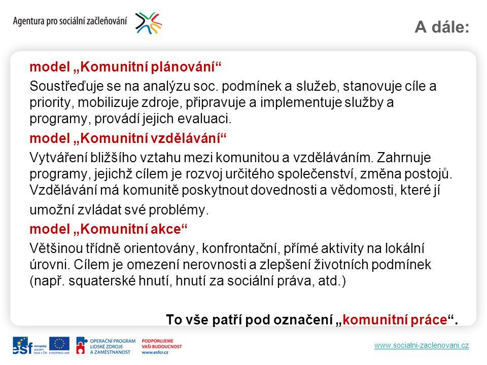 """www.socialni-zaclenovani.cz A dále: model """"Komunitní plánování"""" Soustřeďuje se na analýzu soc. podmínek a služeb, stanovuje cíle a priority, mobilizuj"""