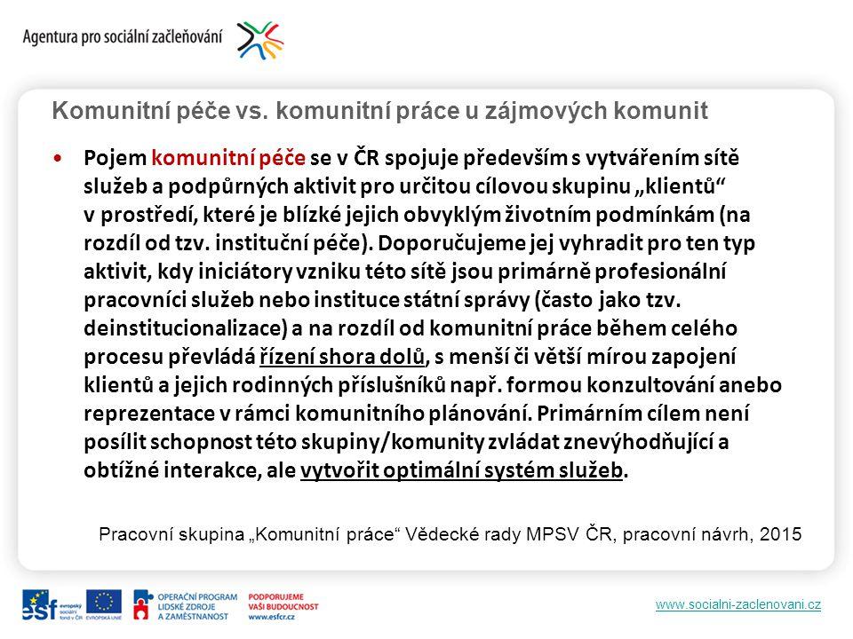 www.socialni-zaclenovani.cz Komunitní péče vs. komunitní práce u zájmových komunit Pojem komunitní péče se v ČR spojuje především s vytvářením sítě sl