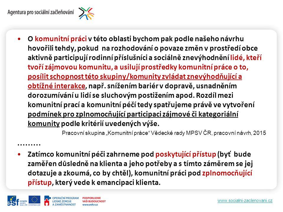 www.socialni-zaclenovani.cz O komunitní práci v této oblasti bychom pak podle našeho návrhu hovořili tehdy, pokud na rozhodování o povaze změn v prost