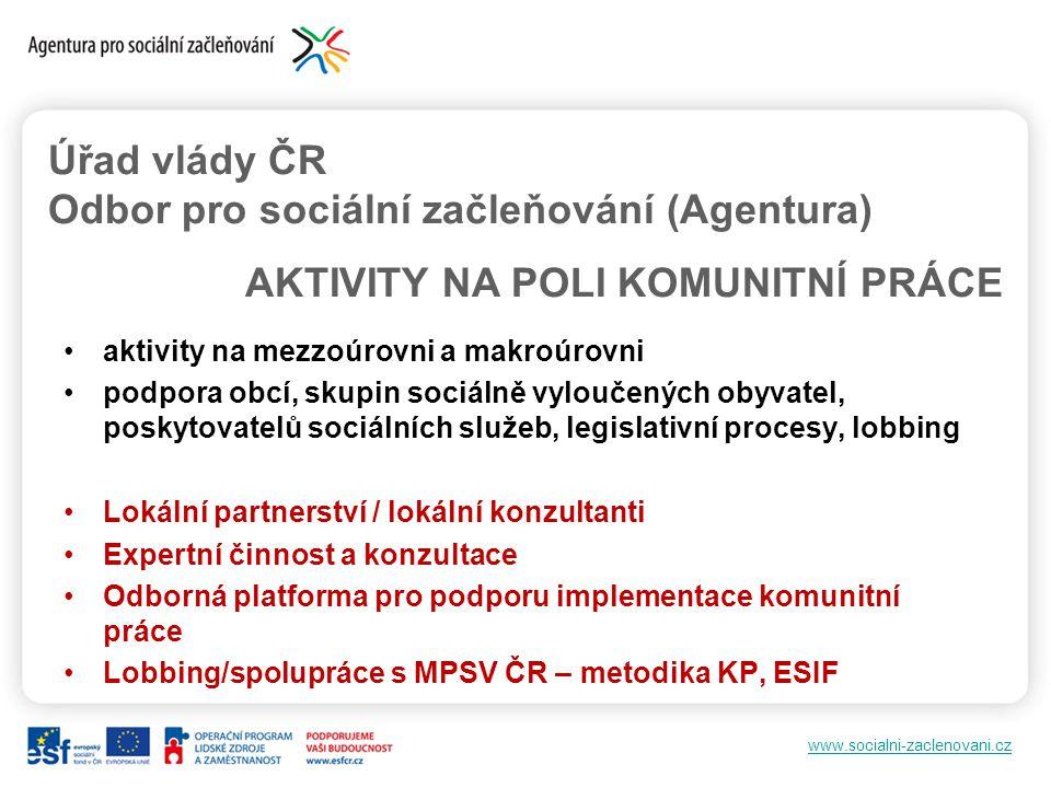 www.socialni-zaclenovani.cz aktivity na mezzoúrovni a makroúrovni podpora obcí, skupin sociálně vyloučených obyvatel, poskytovatelů sociálních služeb,