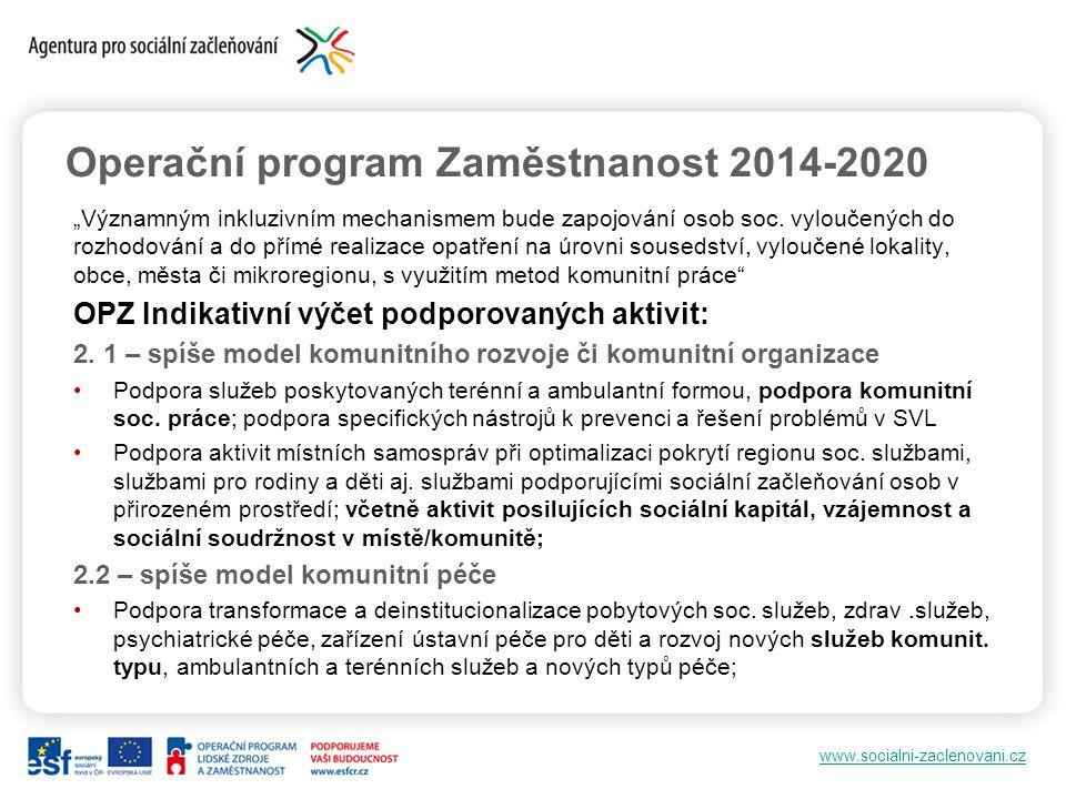 """www.socialni-zaclenovani.cz Operační program Zaměstnanost 2014-2020 """"Významným inkluzivním mechanismem bude zapojování osob soc. vyloučených do rozhod"""