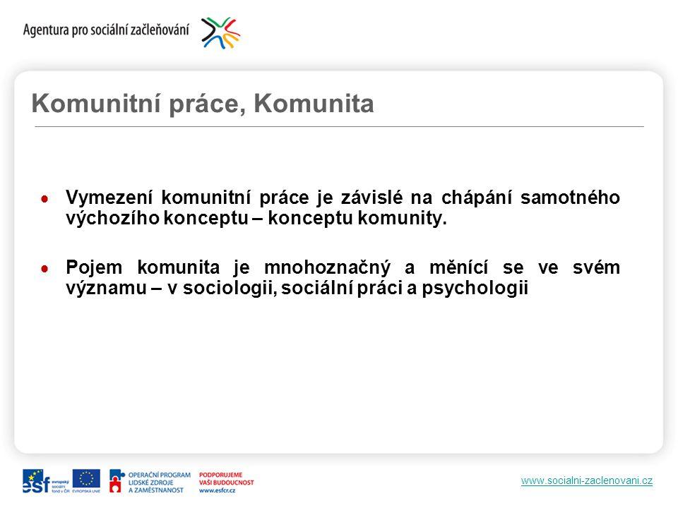 www.socialni-zaclenovani.cz Komunitní práce, Komunita  Vymezení komunitní práce je závislé na chápání samotného výchozího konceptu – konceptu komunit