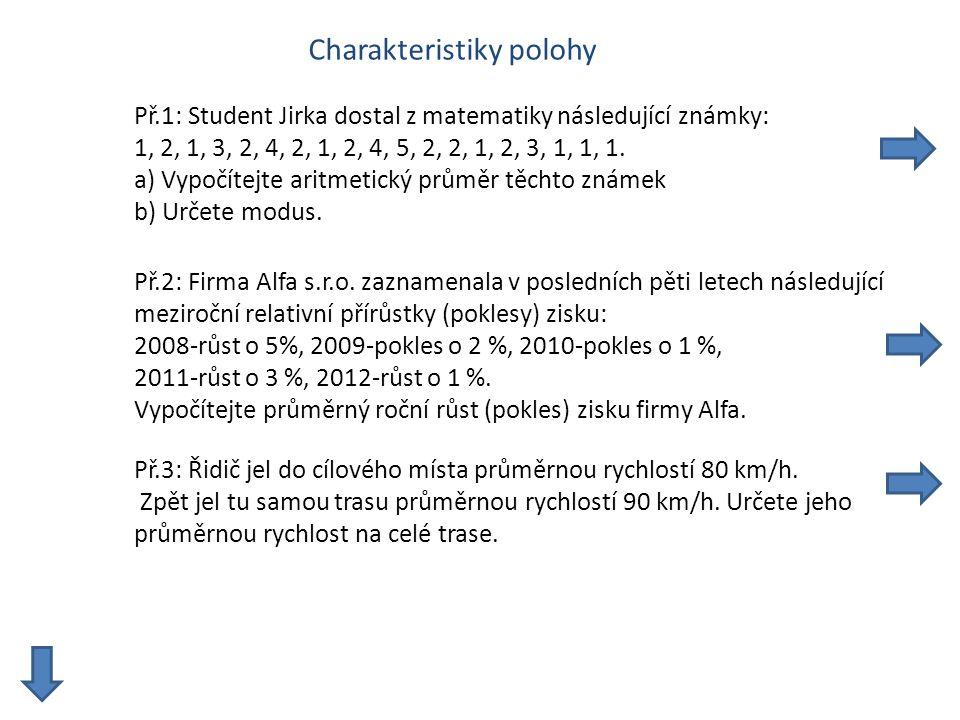 Charakteristiky polohy Př.1: Student Jirka dostal z matematiky následující známky: 1, 2, 1, 3, 2, 4, 2, 1, 2, 4, 5, 2, 2, 1, 2, 3, 1, 1, 1.