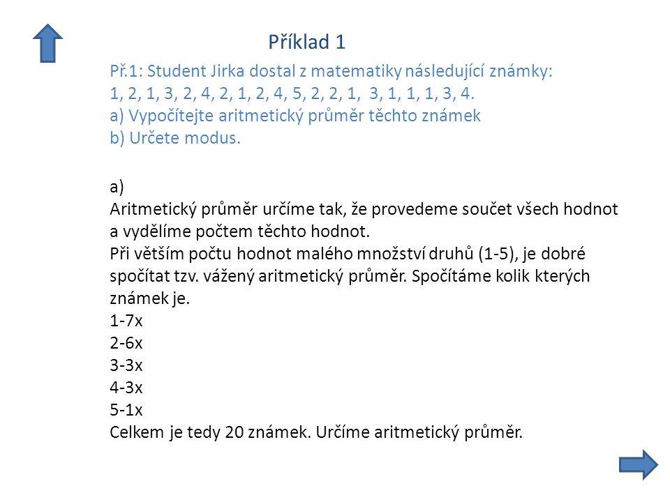 Příklad 1 Př.1: Student Jirka dostal z matematiky následující známky: 1, 2, 1, 3, 2, 4, 2, 1, 2, 4, 5, 2, 2, 1, 3, 1, 1, 1, 3, 4.