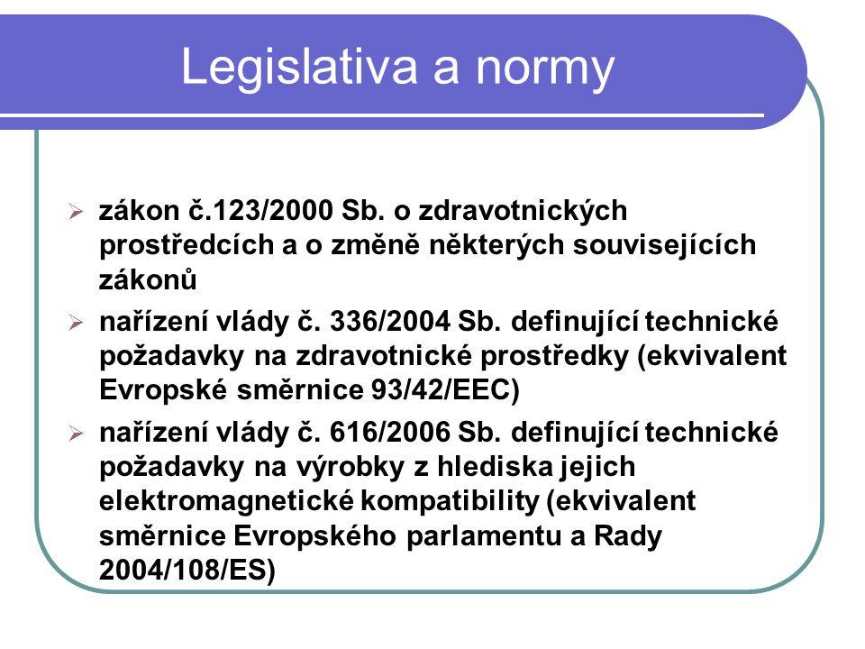 Legislativa a normy  zákon č.123/2000 Sb. o zdravotnických prostředcích a o změně některých souvisejících zákonů  nařízení vlády č. 336/2004 Sb. def